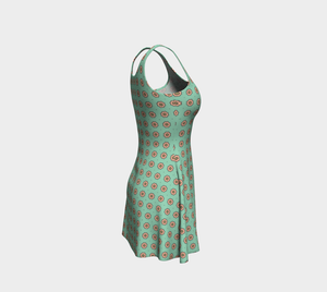 The Lindsay Flare Dress in Mint and Peach-Clash Patterns