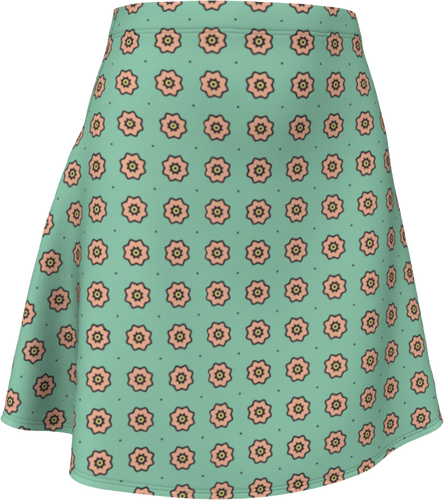 The Lindsay Flare Skirt in Mint and Peach-Flare Skirt-Clash Patterns by Jennifer Akkermans