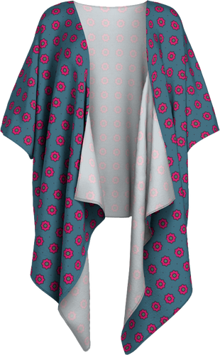 The Lindsay Kimono in Grey and Pink-Draped Kimono-Clash Patterns by Jennifer Akkermans