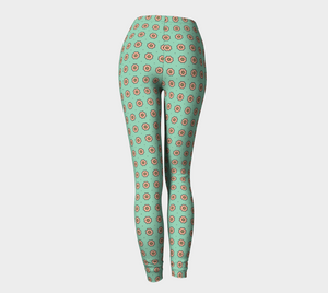 The Lindsay Leggings in Mint and Peach-Clash Patterns