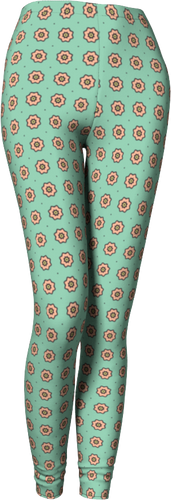 The Lindsay Leggings in Mint and Peach-Leggings-Clash Patterns by Jennifer Akkermans