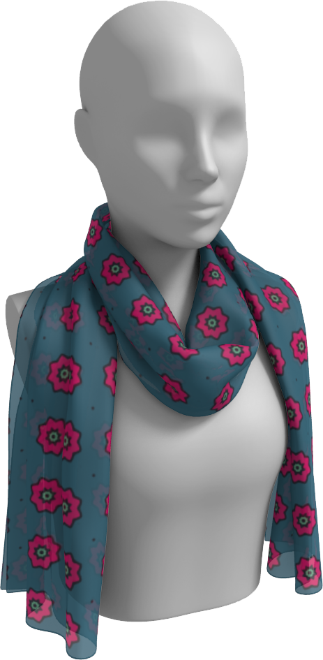 The Lindsay Long Scarf in Grey and Pink-Long Scarf-Clash Patterns by Jennifer Akkermans