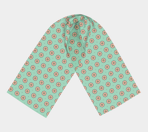 The Lindsay Long Scarf in Mint and Peach-Clash Patterns
