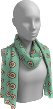 Load image into Gallery viewer, The Lindsay Long Scarf in Mint and Peach-Long Scarf-Clash Patterns by Jennifer Akkermans