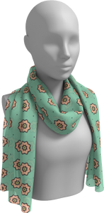The Lindsay Long Scarf in Mint and Peach-Long Scarf-Clash Patterns by Jennifer Akkermans
