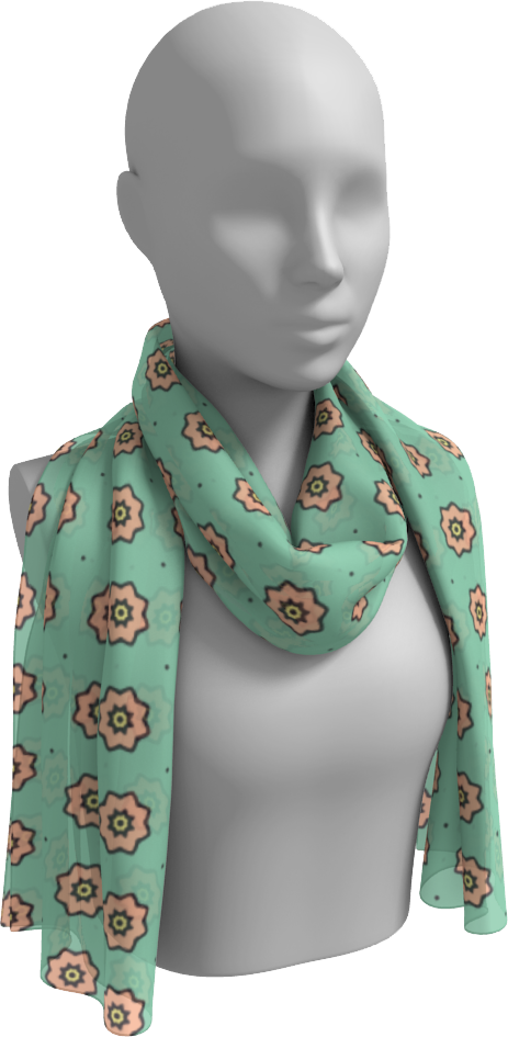 The Lindsay Long Scarf in Mint and Peach