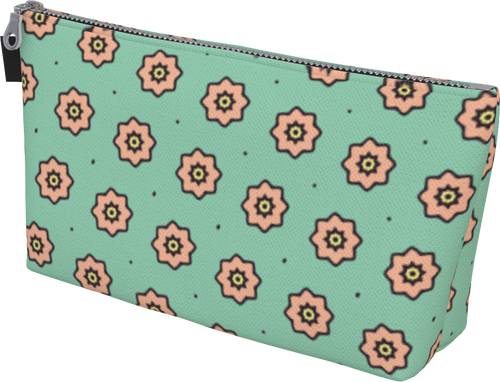 The Lindsay Makeup Bag in Mint and Peach-Makeup Bag-Clash Patterns by Jennifer Akkermans