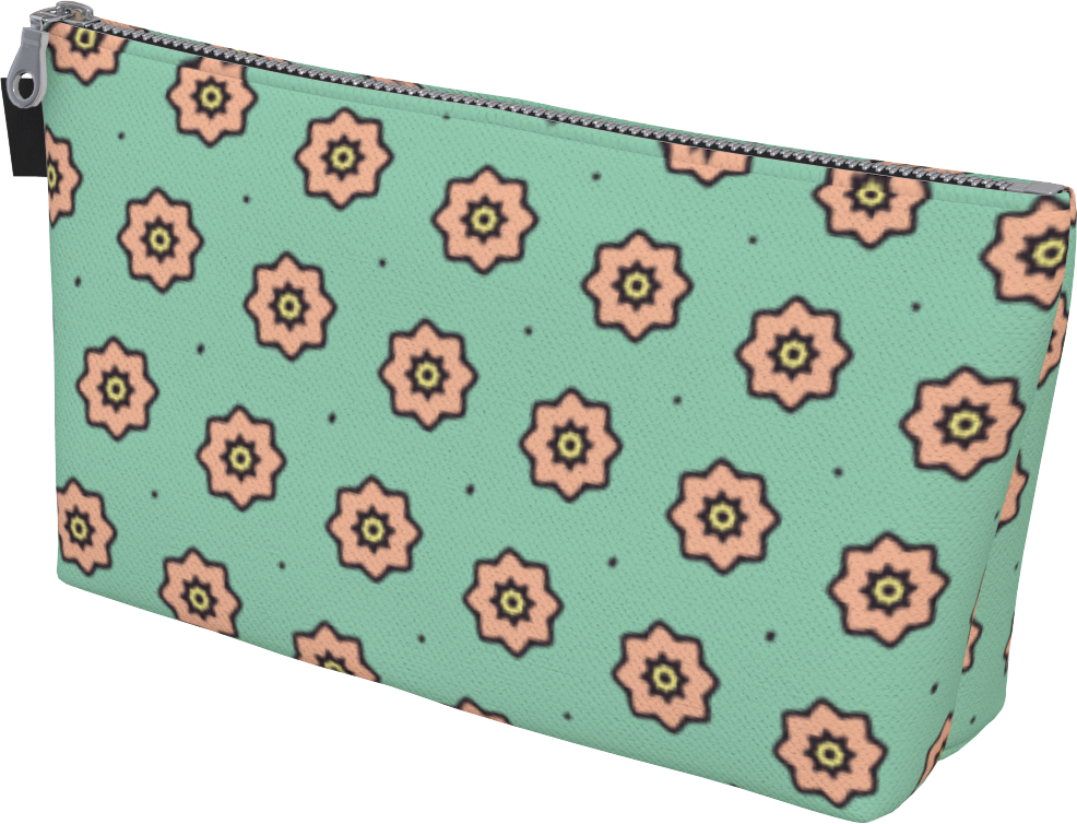 The Lindsay Makeup Bag in Mint and Peach