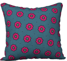 "Load image into Gallery viewer, The Lindsay Reversible Pillow in Grey and Pink-18"" x 18"" Pillow Case-Clash Patterns by Jennifer Akkermans"