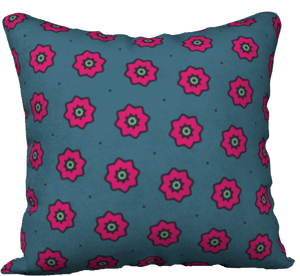 "The Lindsay Reversible Pillow in Grey and Pink-18"" x 18"" Pillow Case-Clash Patterns by Jennifer Akkermans"