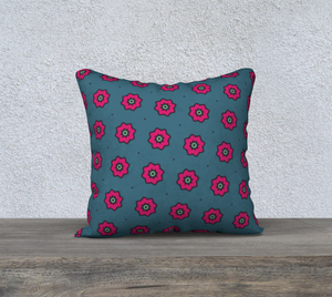 The Lindsay Reversible Pillow in Grey and Pink-Clash Patterns