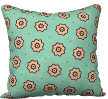 "Load image into Gallery viewer, The Lindsay Reversible Pillow in Mint and Peach-18"" x 18"" Pillow Case-Clash Patterns by Jennifer Akkermans"