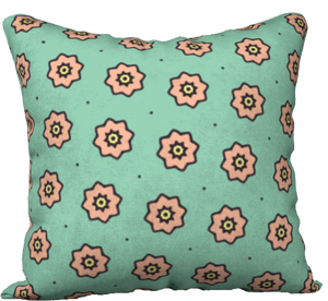 "The Lindsay Reversible Pillow in Mint and Peach-18"" x 18"" Pillow Case-Clash Patterns by Jennifer Akkermans"