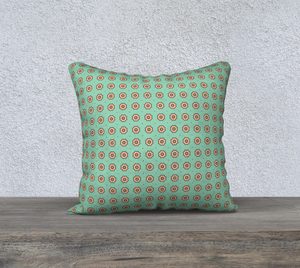The Lindsay Reversible Pillow in Mint and Peach-Clash Patterns