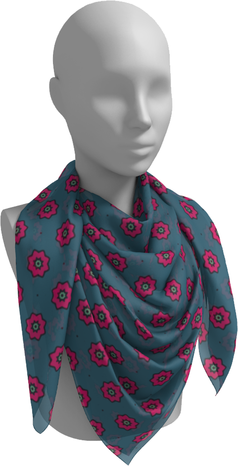 The Lindsay Square Scarf in Grey and Pink-Square Scarf-Clash Patterns by Jennifer Akkermans