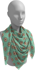 The Lindsay Square Scarf in Mint and Peach-Square Scarf-Clash Patterns by Jennifer Akkermans
