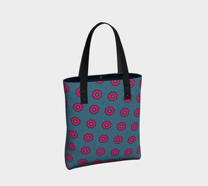The Lindsay Tote Bag in Grey and Pink-Clash Patterns