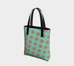 The Lindsay Tote Bag in Mint and Peach-Clash Patterns