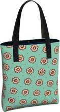 Load image into Gallery viewer, The Lindsay Tote Bag in Mint and Peach-Tote Bag-Clash Patterns by Jennifer Akkermans