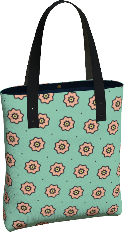 The Lindsay Tote Bag in Mint and Peach-Tote Bag-Clash Patterns by Jennifer Akkermans