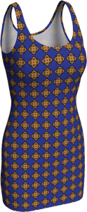 The Lorraine Fitted Dress in Navy and Ochre