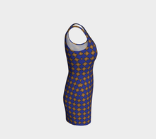 Load image into Gallery viewer, The Lorraine Fitted Dress in Navy and Ochre-Clash Patterns