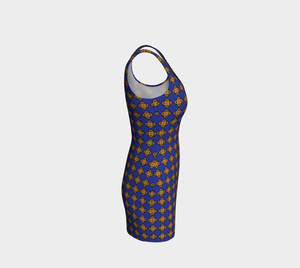 The Lorraine Fitted Dress in Navy and Ochre-Clash Patterns