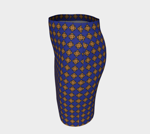 The Lorraine Fitted Skirt in Navy and Ochre-Clash Patterns
