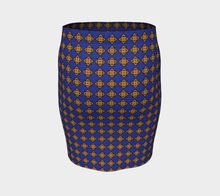 Load image into Gallery viewer, The Lorraine Fitted Skirt in Navy and Ochre-Clash Patterns