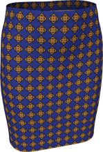 Load image into Gallery viewer, The Lorraine Fitted Skirt in Navy and Ochre