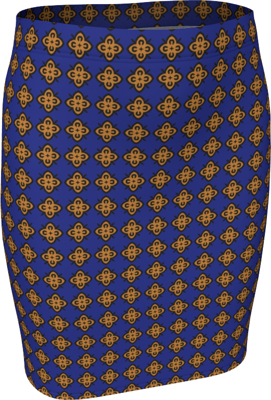 The Lorraine Fitted Skirt in Navy and Ochre