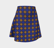 Load image into Gallery viewer, The Lorraine Flare Skirt in Navy and Ochre-Clash Patterns