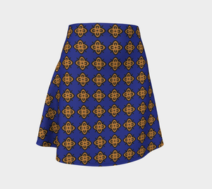 The Lorraine Flare Skirt in Navy and Ochre-Clash Patterns
