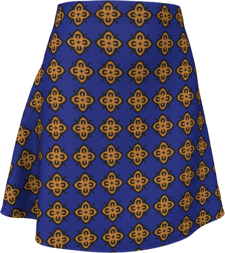 The Lorraine Flare Skirt in Navy and Ochre-Flare Skirt-Clash Patterns by Jennifer Akkermans