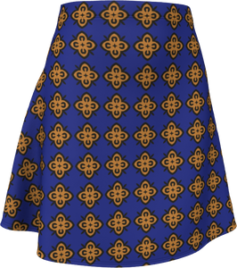 The Lorraine Flare Skirt in Navy and Ochre