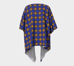 The Lorraine Kimono in Navy and Ochre-Clash Patterns
