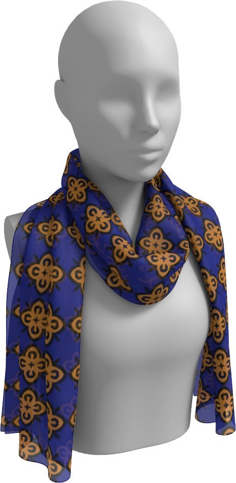 The Lorraine Long Scarf in Navy and Ochre