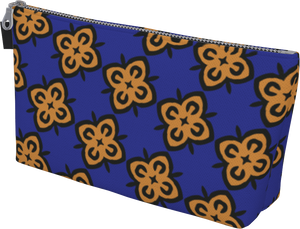 The Lorraine Makeup Bag in Navy and Ochre