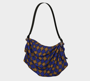 The Lorraine Origami Bag in Navy and Ochre-Clash Patterns