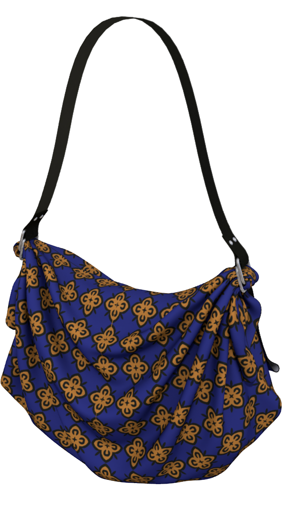 The Lorraine Origami Bag in Navy and Ochre