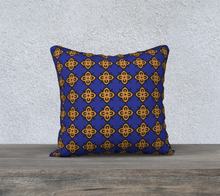 Load image into Gallery viewer, The Lorraine Reversible Pillow in Navy and Ochre-Clash Patterns