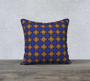 The Lorraine Reversible Pillow in Navy and Ochre-Clash Patterns
