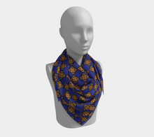 Load image into Gallery viewer, The Lorraine Square Scarf in Navy and Ochre