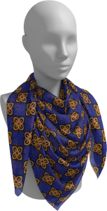 The Lorraine Square Scarf in Navy and Ochre