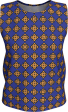 Load image into Gallery viewer, The Lorraine Tank Top in Navy and Ochre-Loose Tank Top (Regular)-Clash Patterns by Jennifer Akkermans