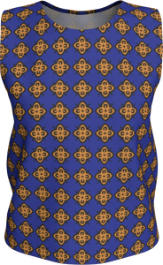 The Lorraine Tank Top in Navy and Ochre-Loose Tank Top (Regular)-Clash Patterns by Jennifer Akkermans