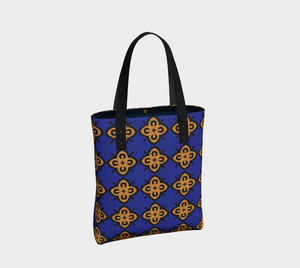 The Lorraine Tote Bag in Navy and Ochre-Clash Patterns