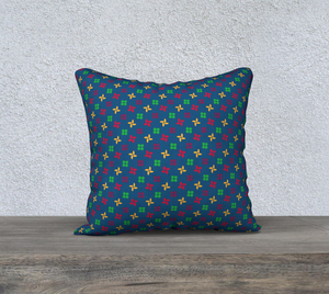 The Louise Reversible Pillow in Blue-Clash Patterns