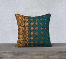 Load image into Gallery viewer, The Lucinda Pillow in Green and Gold-Clash Patterns