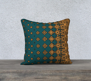 The Lucinda Pillow in Green and Gold-Clash Patterns